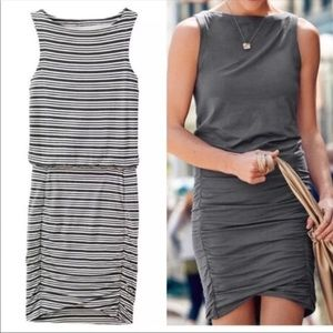 Athleta Tulip striped dress black and white